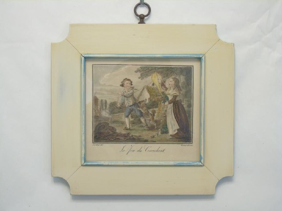 4 Antique Framed Prints of 19th C Children Playing - 4