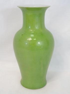 Large Green Porcelain Chinese Baluster Vase