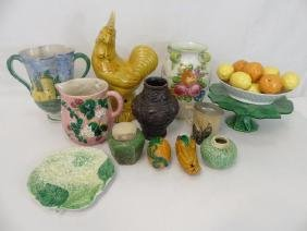 Large Group of Various Vintage Majolica Items
