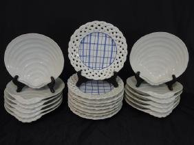 12 Clam Shell Plates & 8 Basket Weave Plates