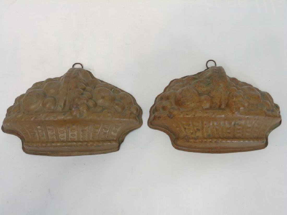 Pair Antique Country Style Fruit Basket Form Molds