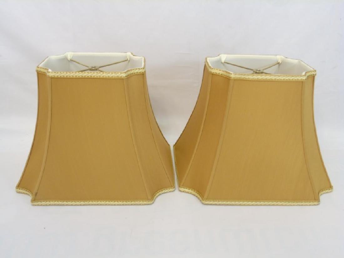 Pair Contemporary Gold Silk & Trim Lamp Shades