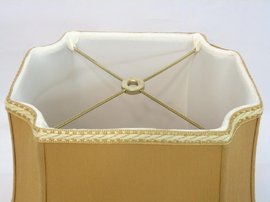 Pair Contemporary Gold Silk & Trim Lamp Shades - 2