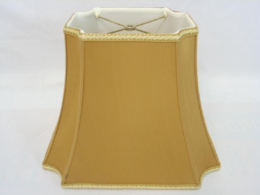 Pair Contemporary Gold Silk & Trim Lamp Shades - 3
