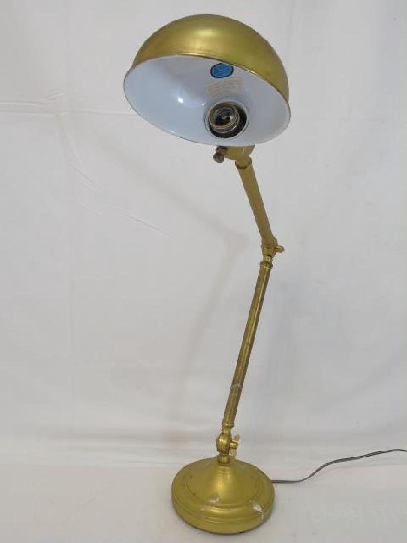 Vintage Brass Student Desk Lamp w Elbow Hinge - 3