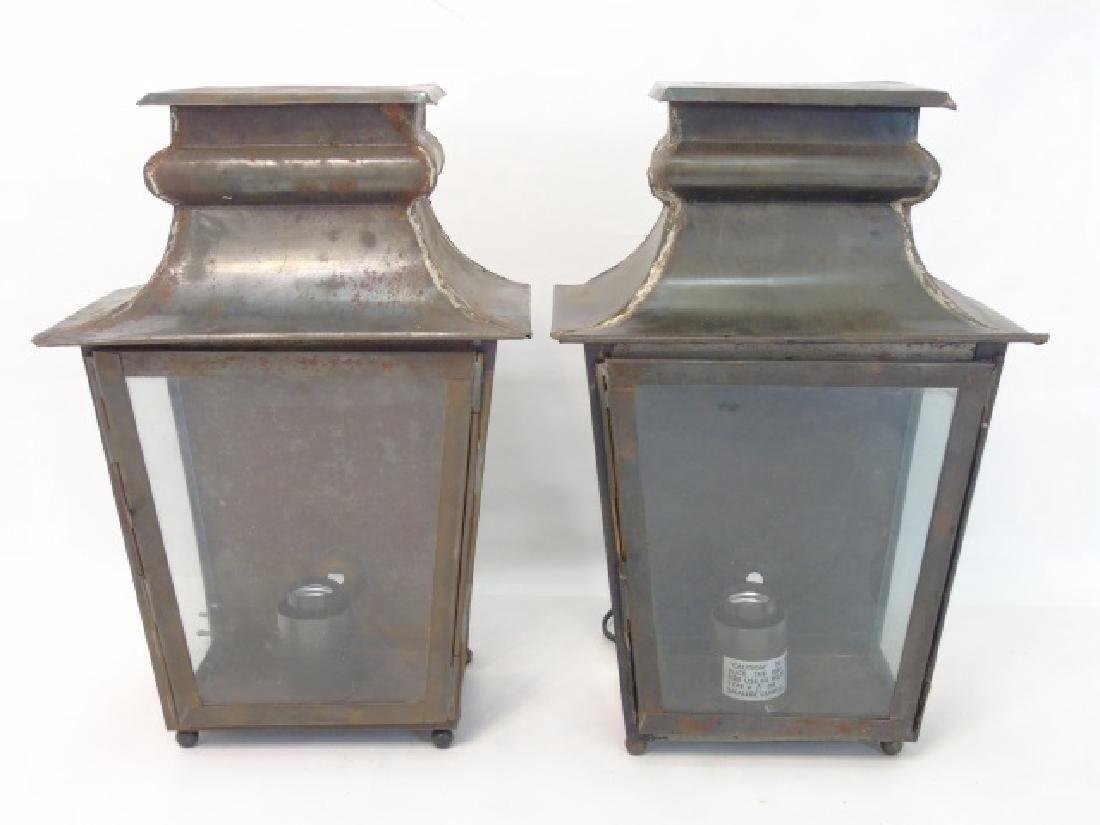 Pair Tin & Glass Lantern Wall Sconce Fixtures