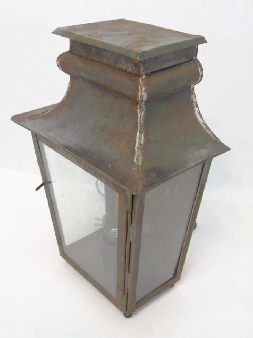 Pair Tin & Glass Lantern Wall Sconce Fixtures - 2