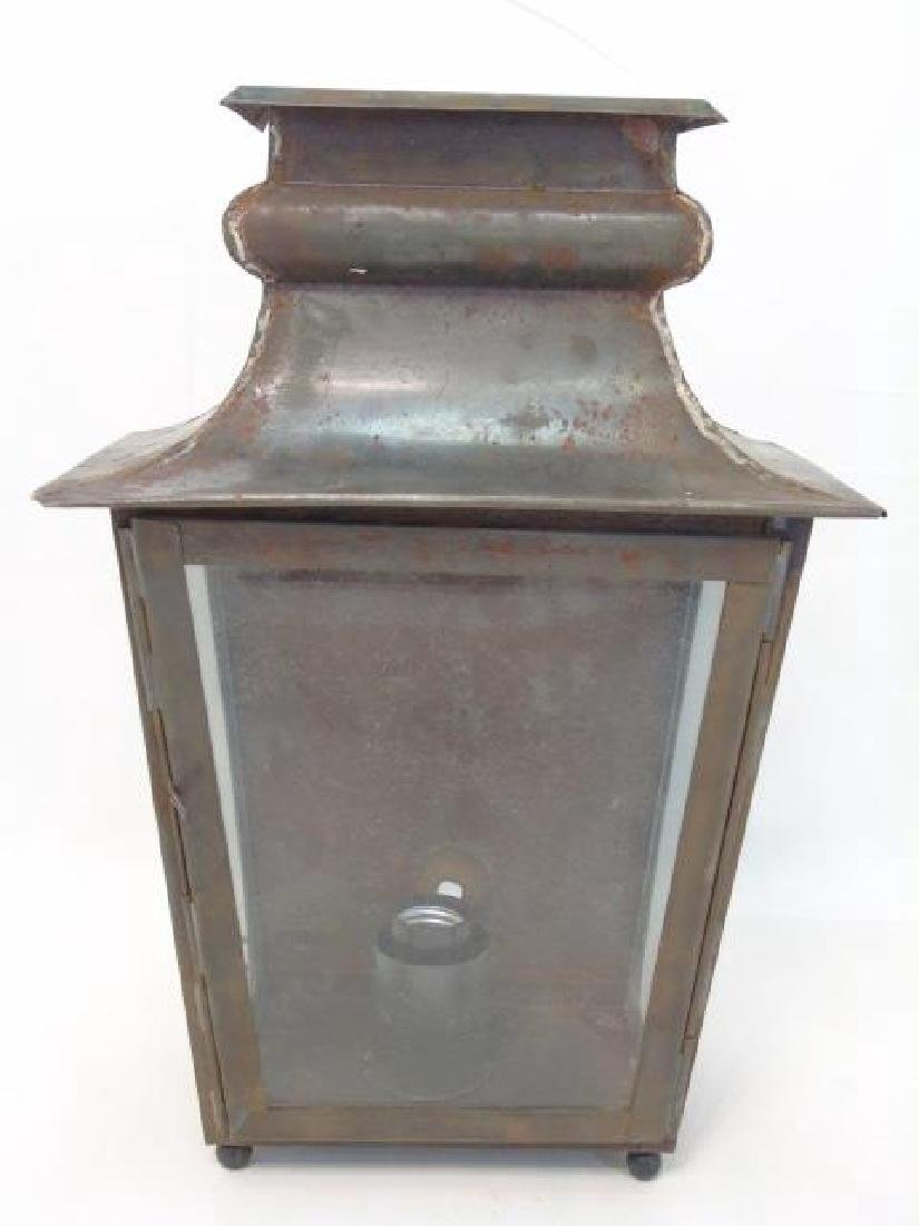 Pair Tin & Glass Lantern Wall Sconce Fixtures - 3