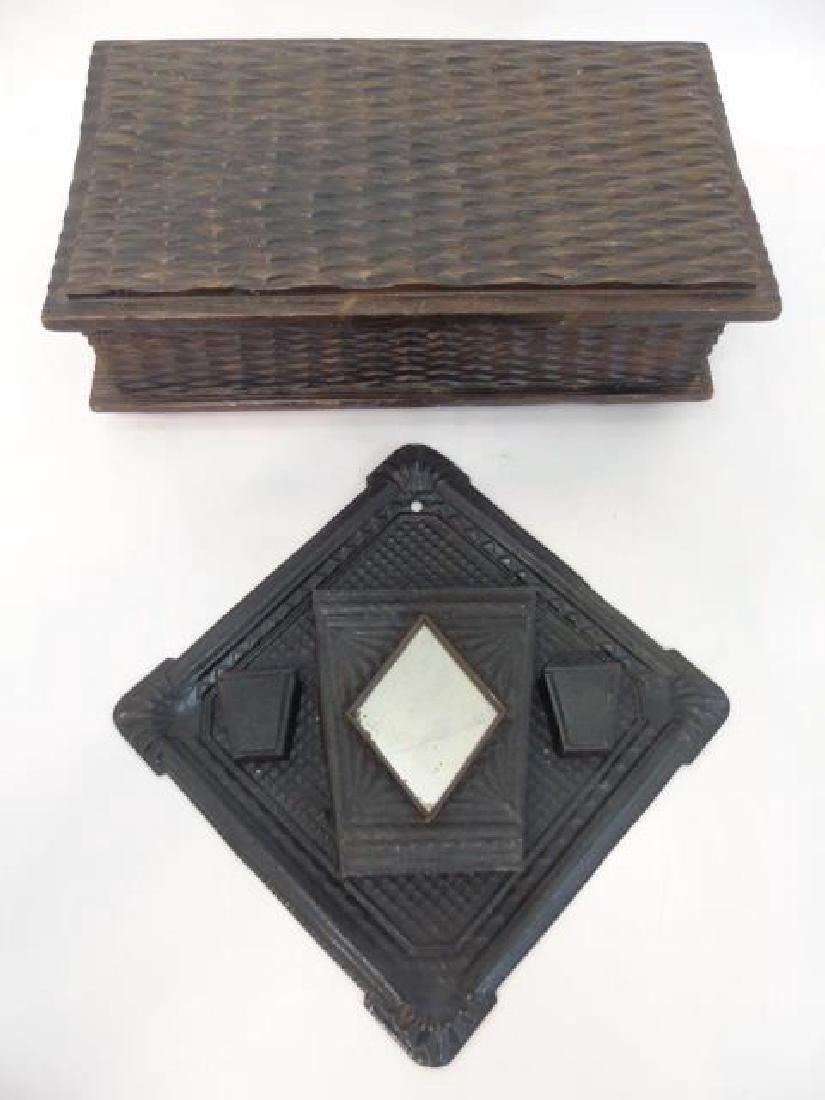 Vintage Tramp Art Box & Metal Wall Pocket w Mirror