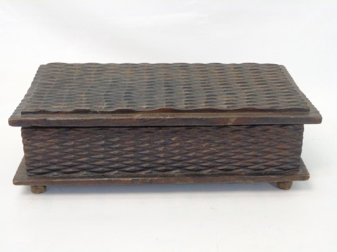 Vintage Tramp Art Box & Metal Wall Pocket w Mirror - 3