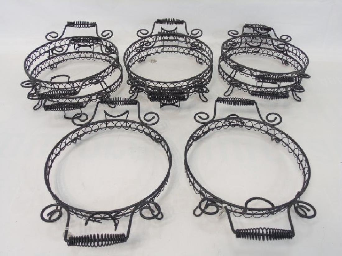 8 Black Wrought Iron Footed, Handled Plate Holders