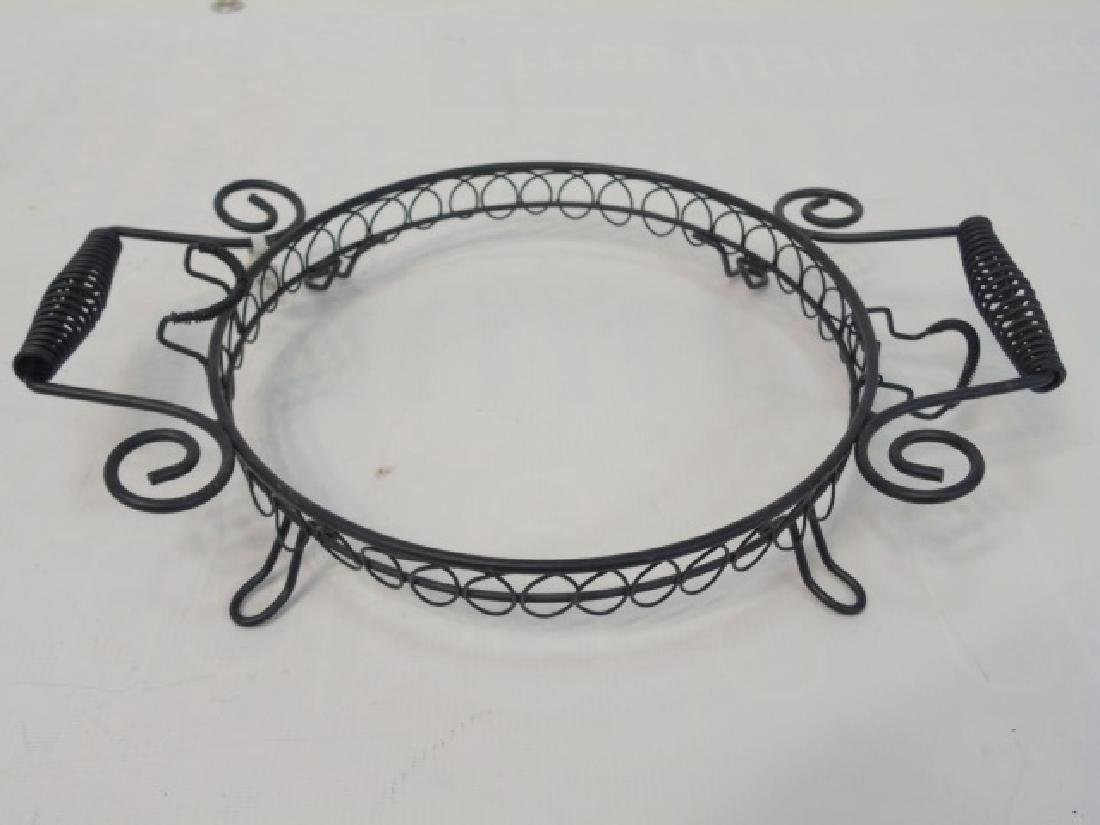 8 Black Wrought Iron Footed, Handled Plate Holders - 2