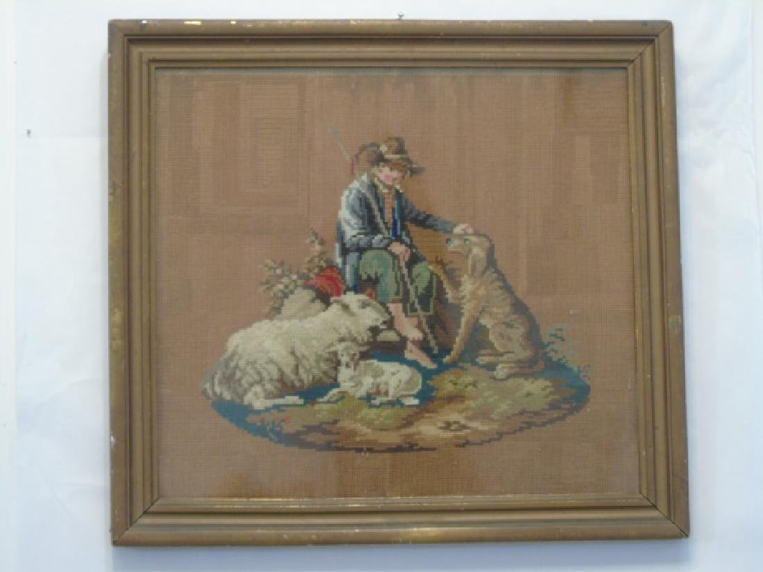 Antique Framed Needlepoint of Shepherd with Dog