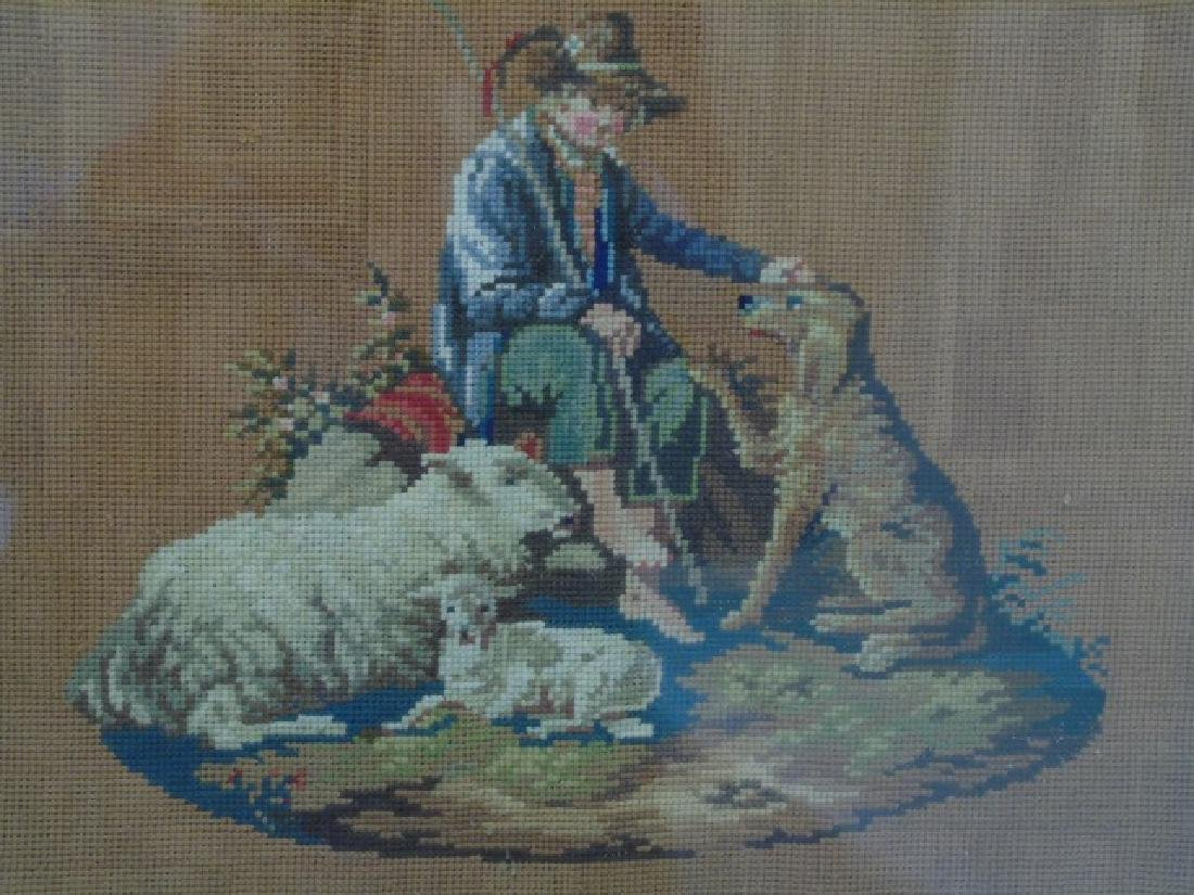 Antique Framed Needlepoint of Shepherd with Dog - 2