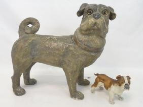 Pottery Dog with Glass Eyes & Porcelain Bisque Dog