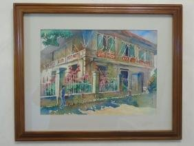 Roger Guarico Signed Watercolor of Street Scene