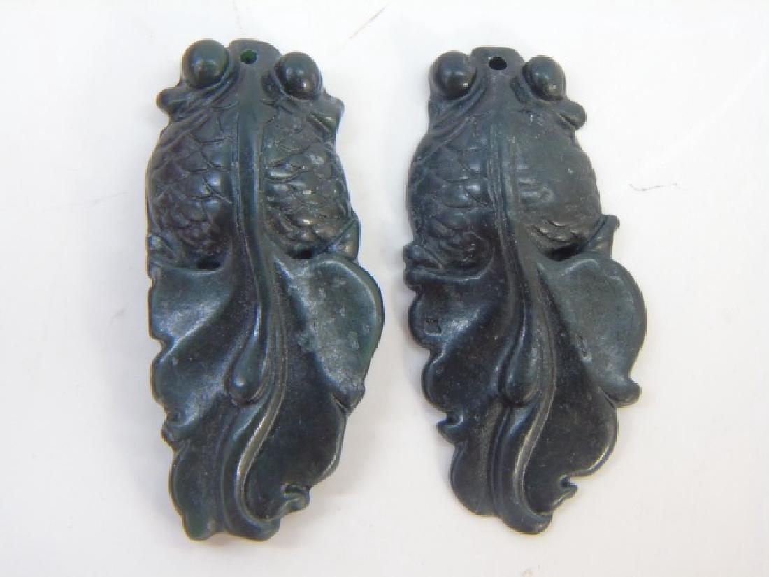 Three Carved Chinese Hardstone Koi Fish Pendants - 3
