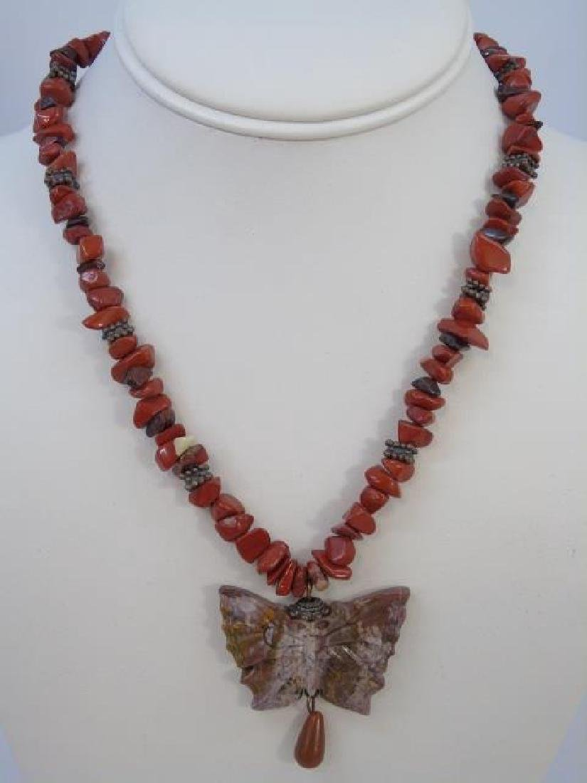 Contemporary Carved Hardstone Butterfly Necklace