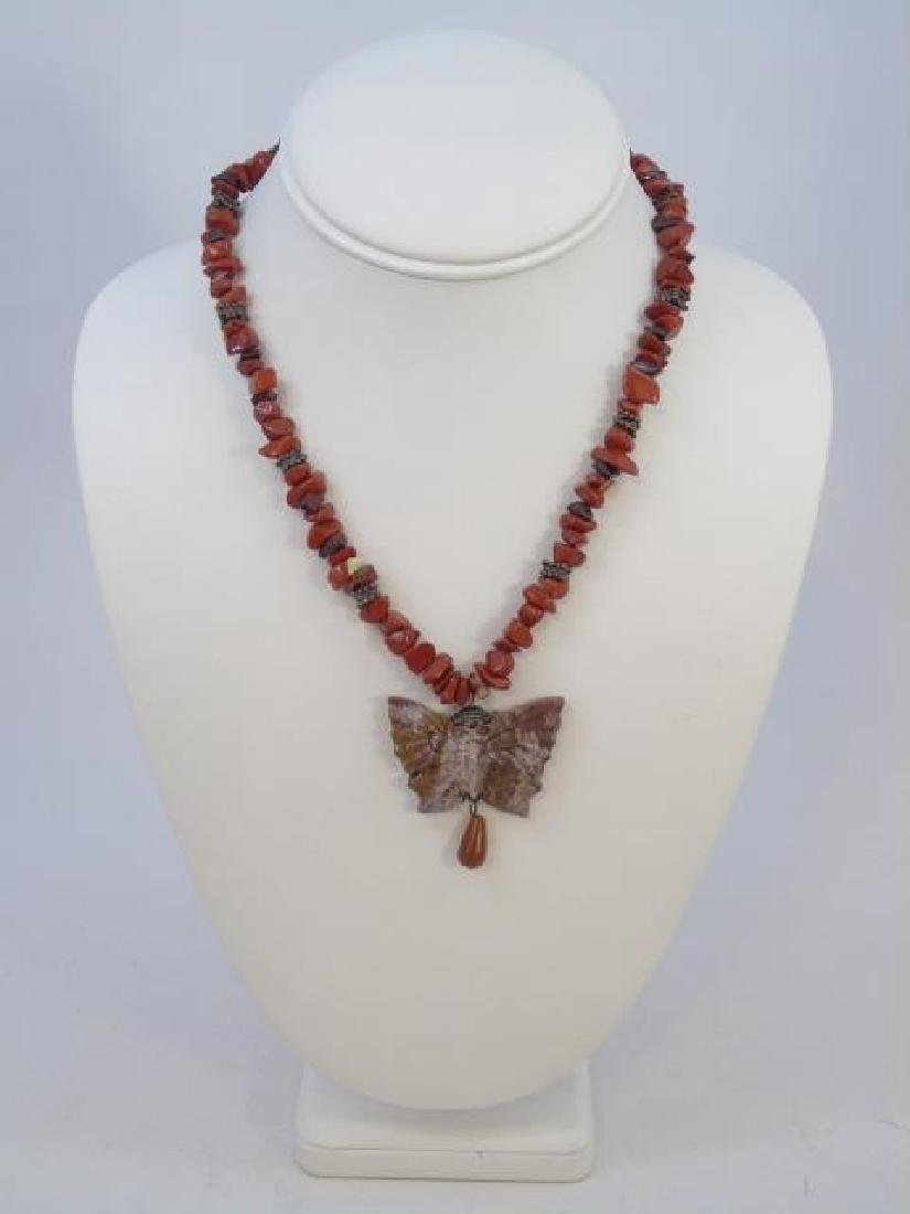 Contemporary Carved Hardstone Butterfly Necklace - 3