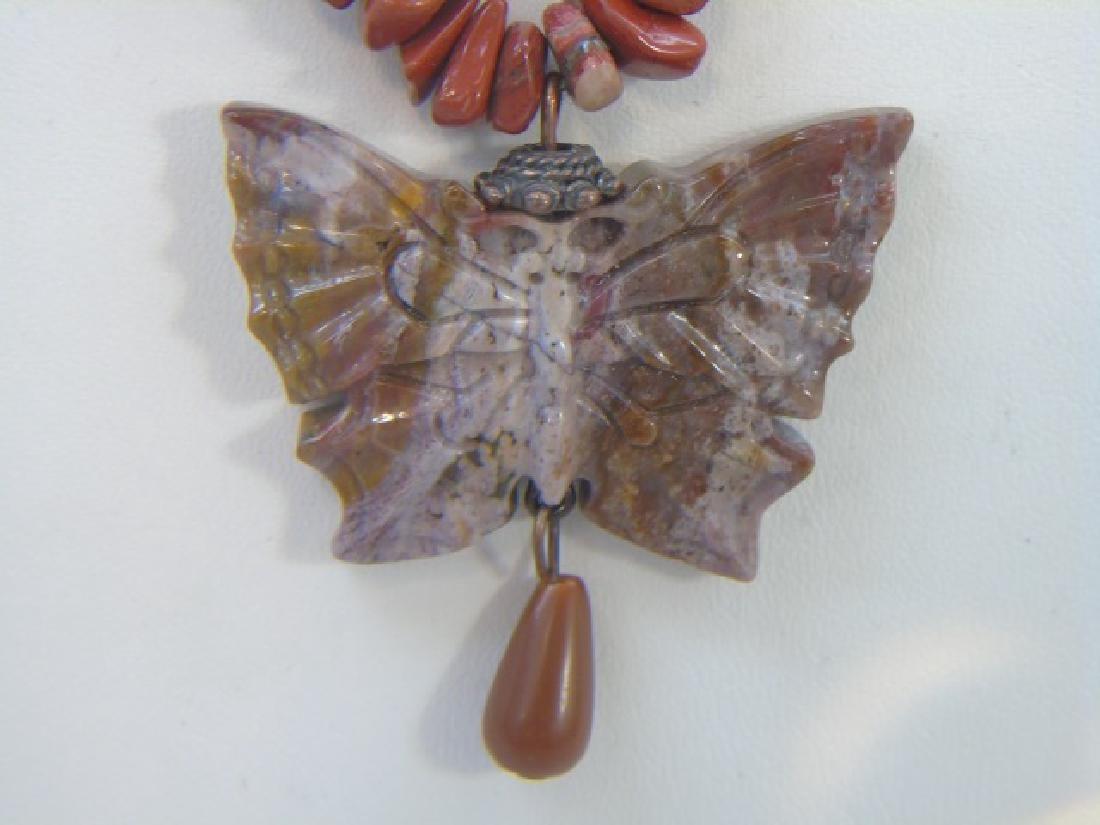 Contemporary Carved Hardstone Butterfly Necklace - 4