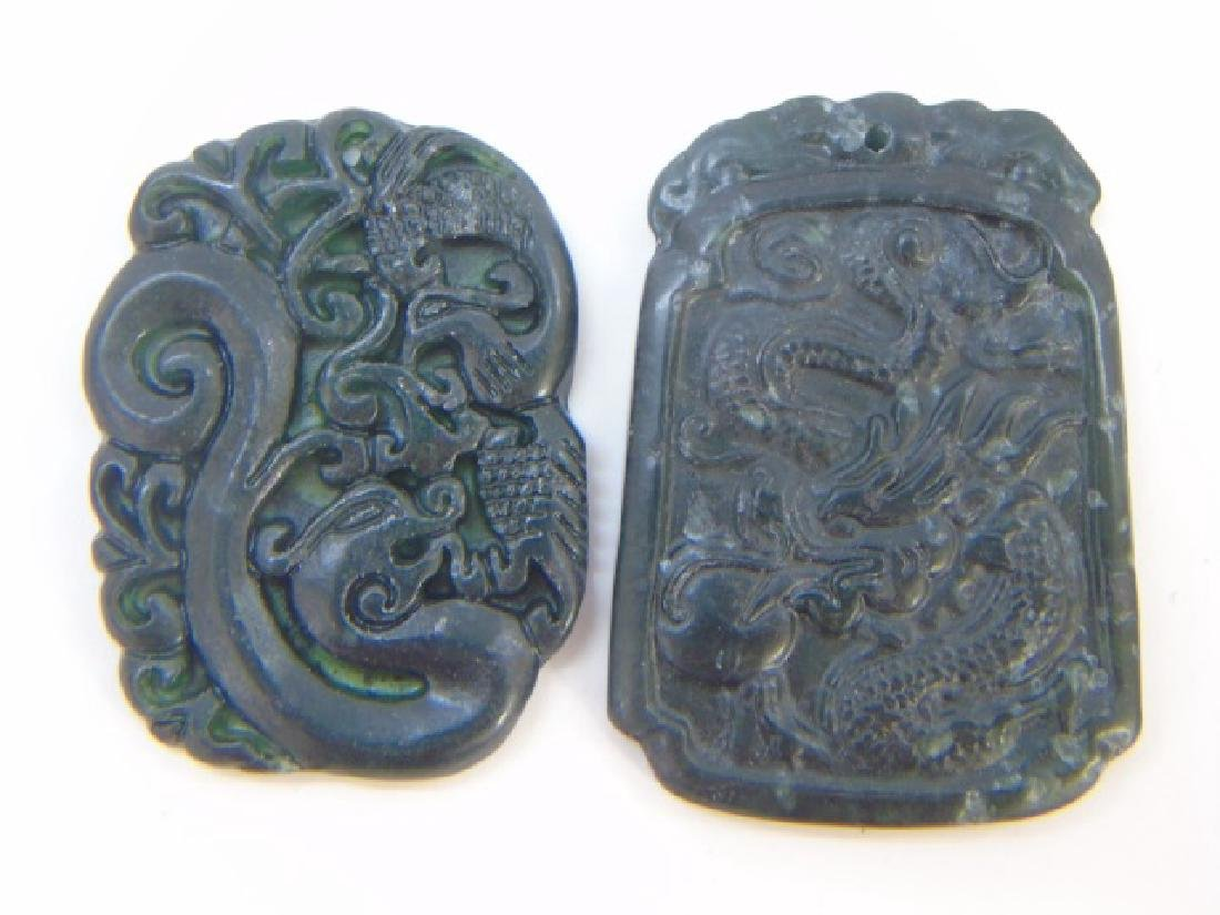 Two Chinese Carved Jade Dragon Necklace Pendants