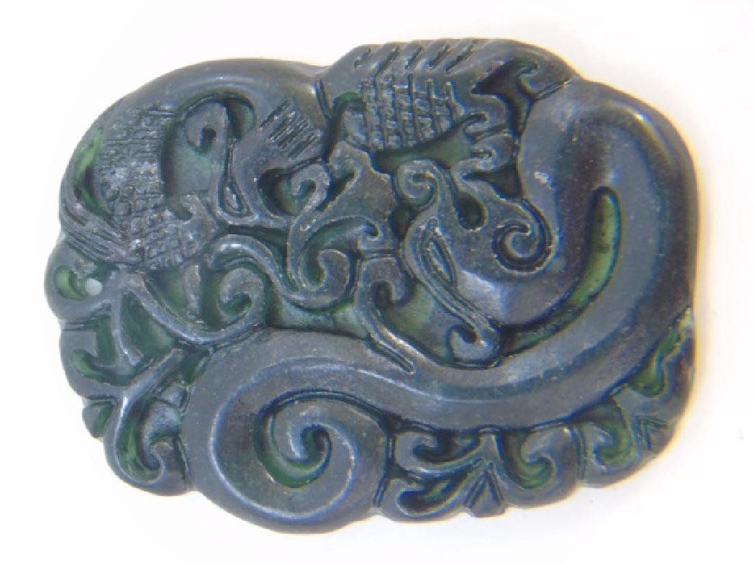 Two Chinese Carved Jade Dragon Necklace Pendants - 3