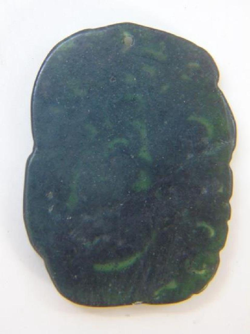 Two Chinese Carved Jade Dragon Necklace Pendants - 4