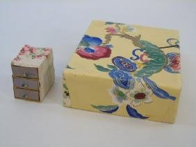 Two Antique Handmade Blocked Wallpaper Boxes