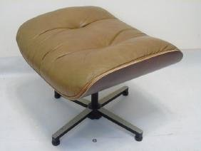 Mid Century Eames Chair Ottoman in Brown Leather
