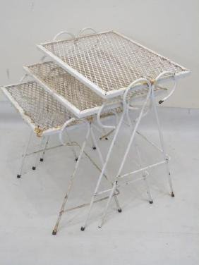 Mid Century White Wrought Iron Mesh Nesting Tables