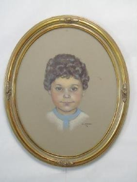Oval Gilt Frame with Pastel Portrait of Young Boy