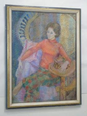 Pastel Portrait of Woman in Red by A. Wilhelm '75