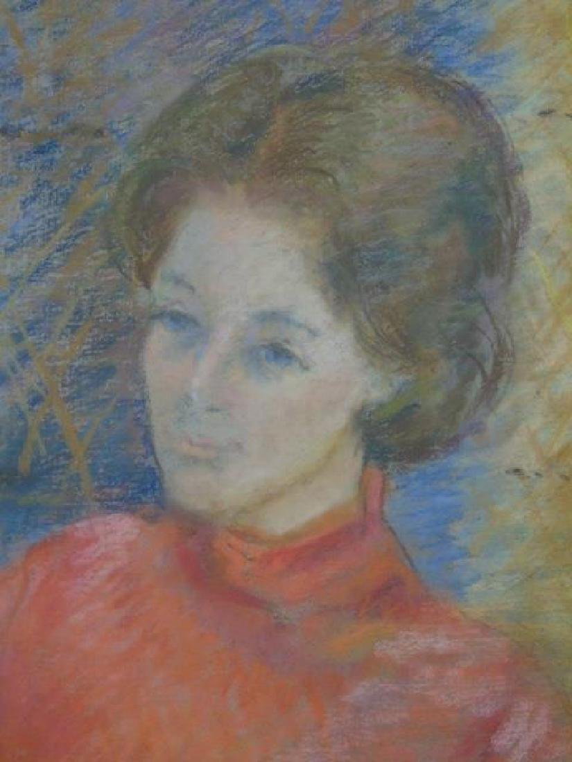 Pastel Portrait of Woman in Red by A. Wilhelm '75 - 2