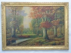 Framed Print after A. Lenhert Painting Fall Woods