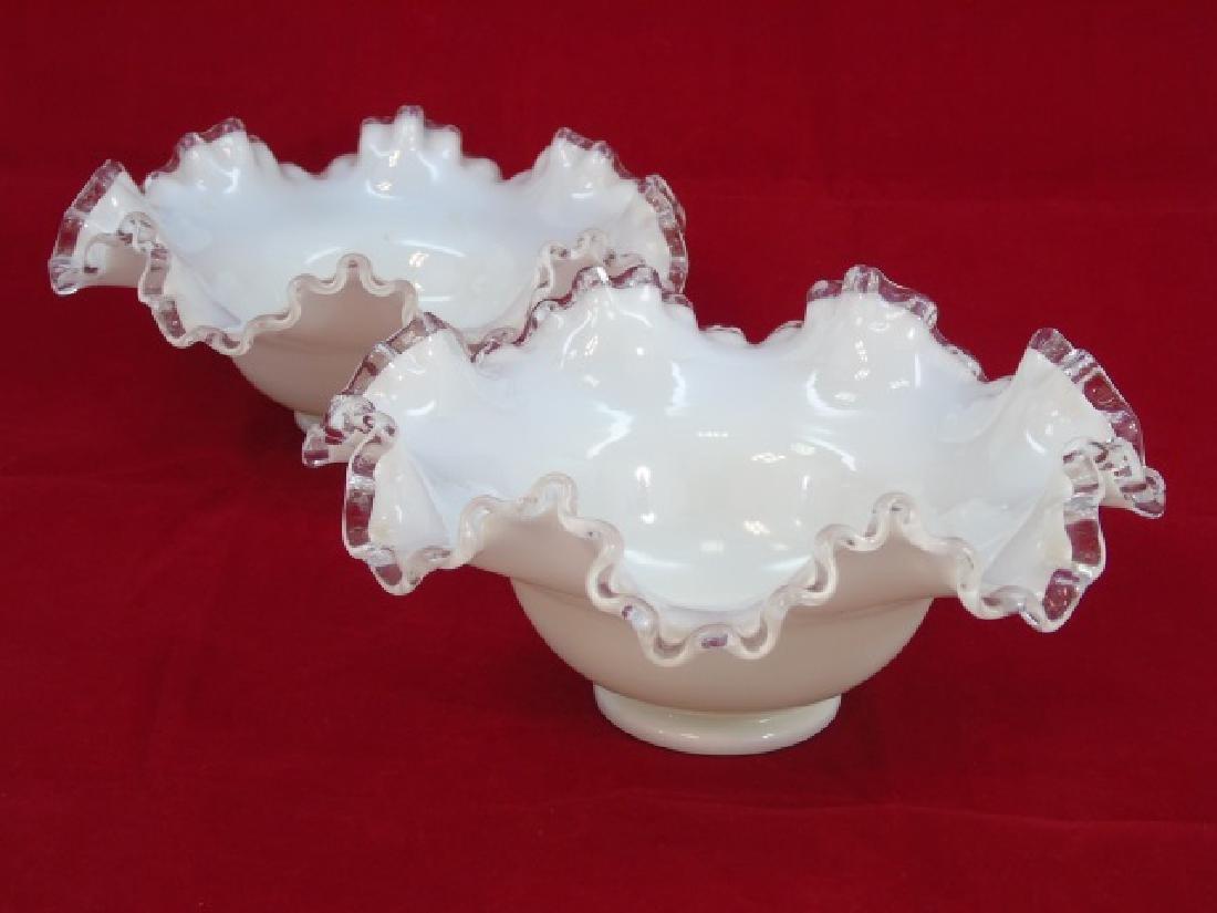Pair White Ruffle Edged Milk Glass Bowls Fenton