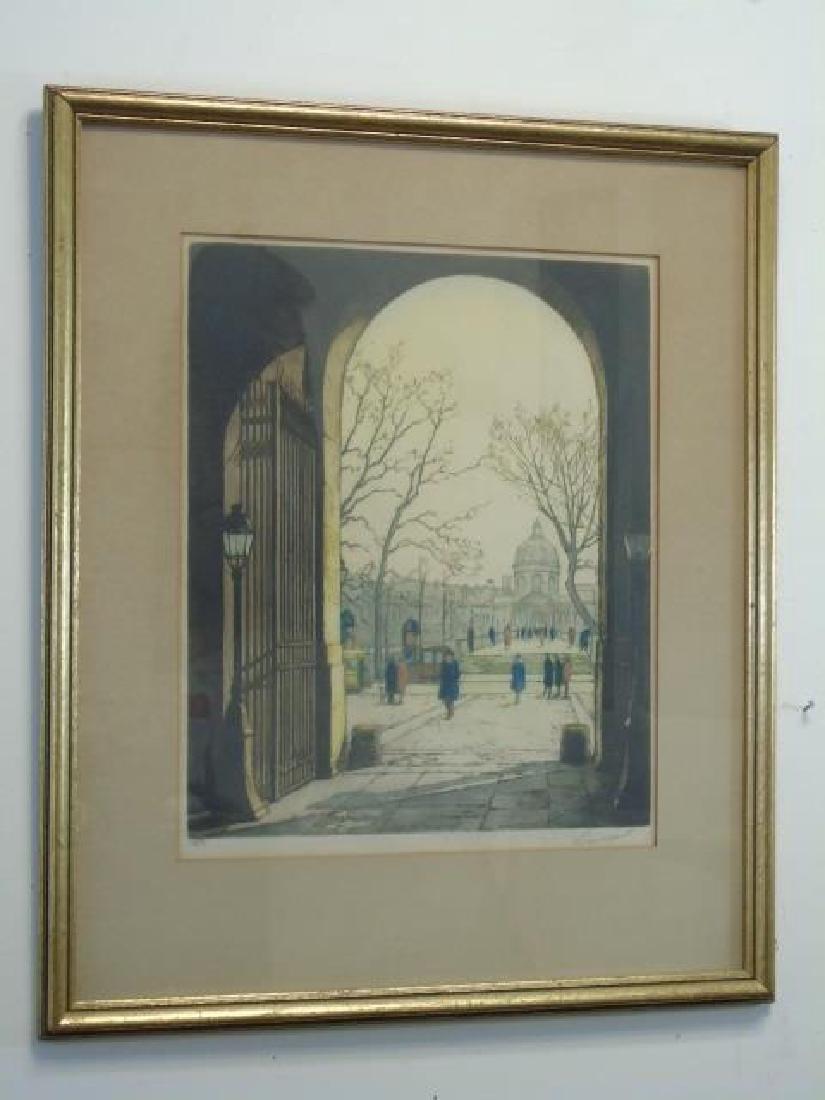 J P Guinegault Vintage Tinted Etching of Paris St.