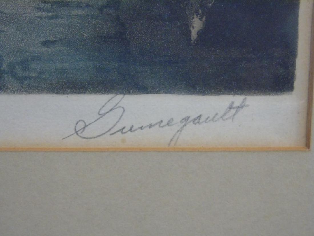 J P Guinegault Vintage Tinted Etching of Paris St. - 2