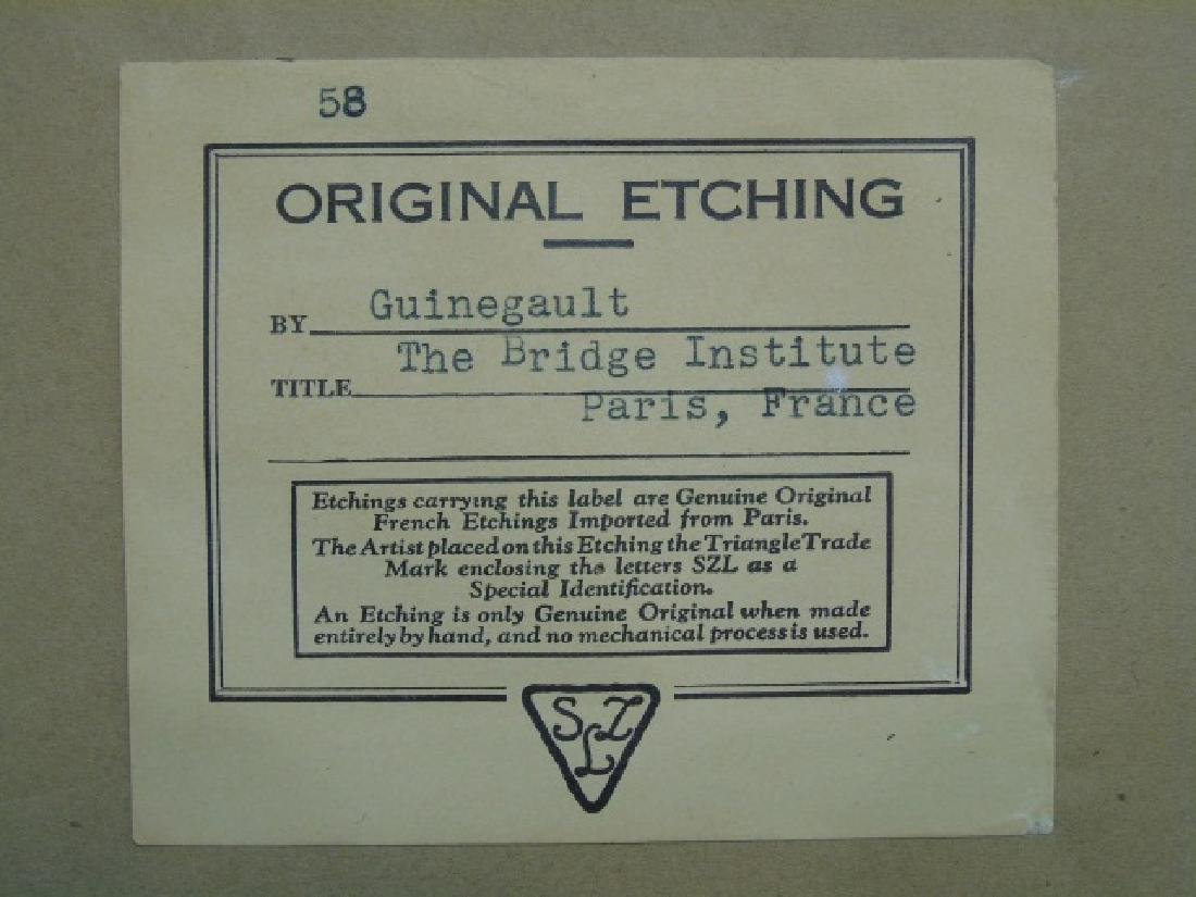 J P Guinegault Vintage Tinted Etching of Paris St. - 3
