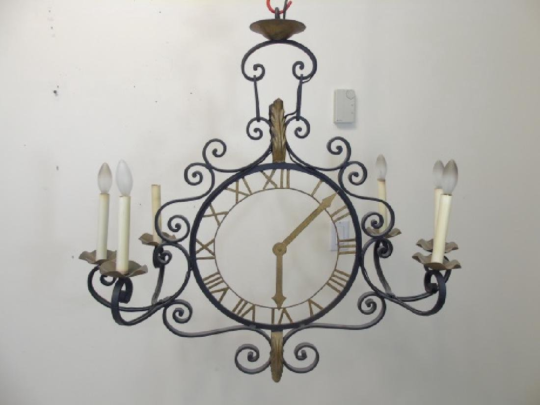Black Iron Lamp with Bronze Accents & Clock Face