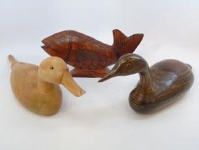 Two Vintage 20th C Hand Carved Duck Decoys