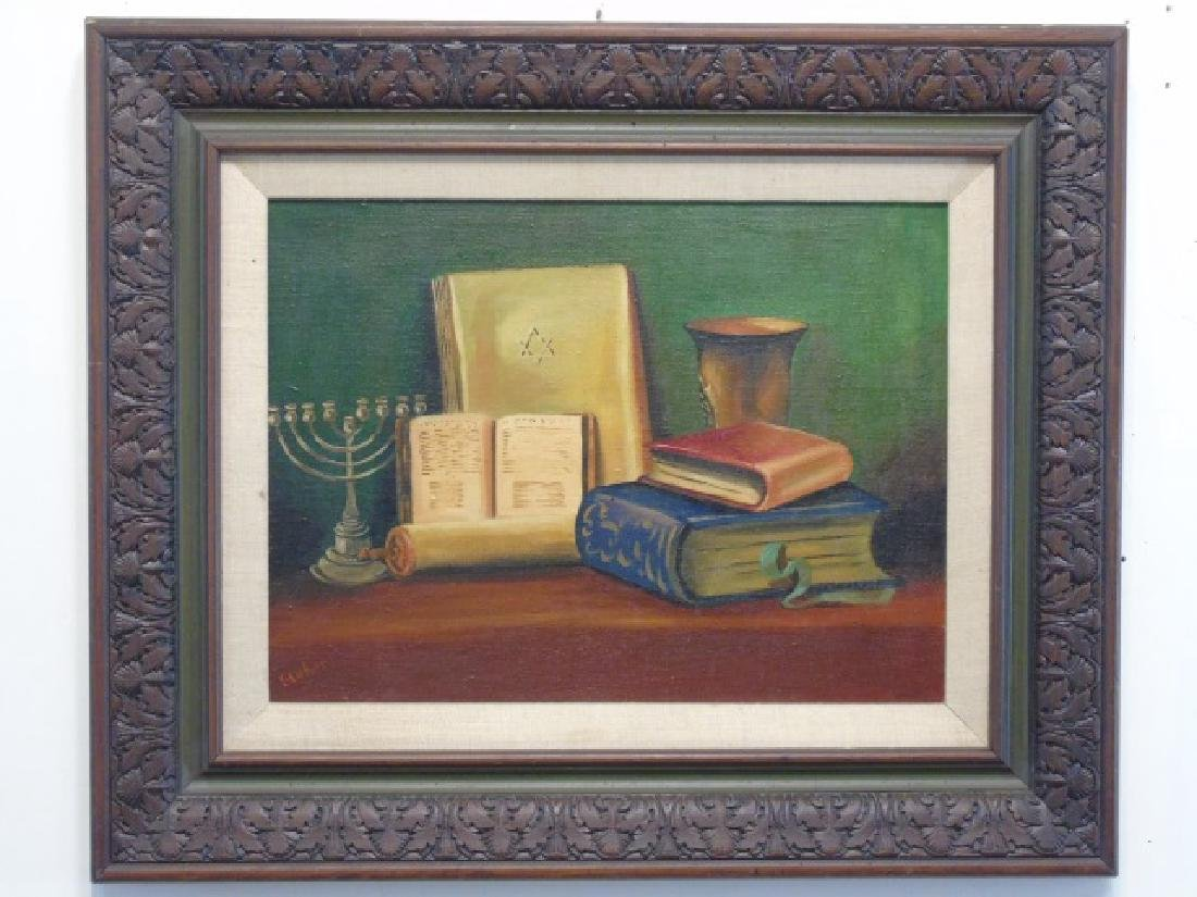 Framed Still Life Judaica Jewish Objects Menorrah