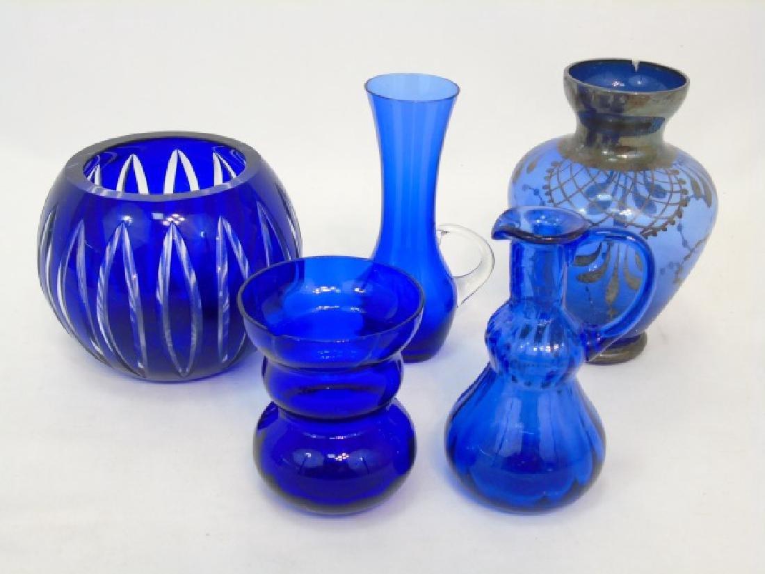 5 Antique & Vintage Cobalt Blue Glass Items
