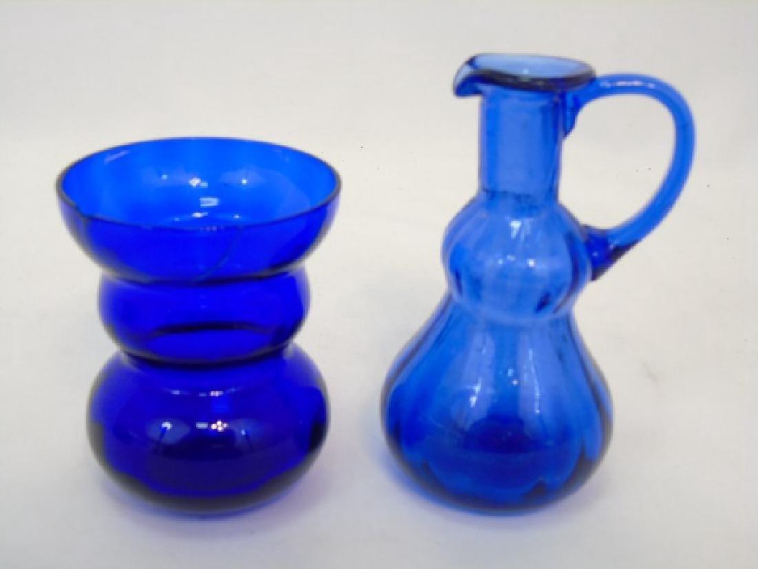 5 Antique & Vintage Cobalt Blue Glass Items - 4