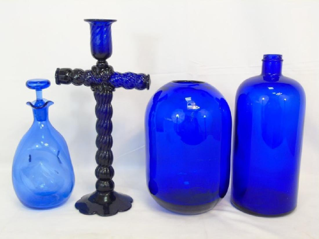 4 Antique & Vintage Cobalt Blue Glass Items