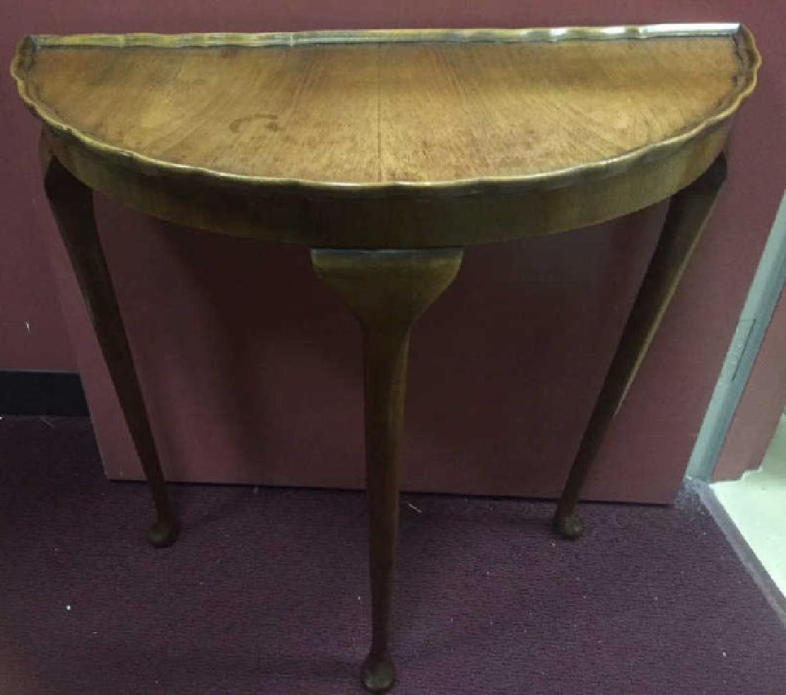 Antique Demi Lune Console Table w Pie Crust Edge
