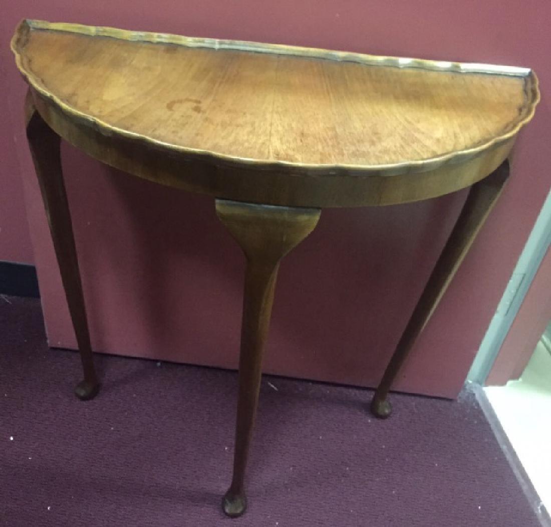 Antique Demi Lune Console Table w Pie Crust Edge - 2
