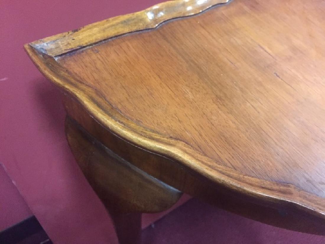 Antique Demi Lune Console Table w Pie Crust Edge - 4