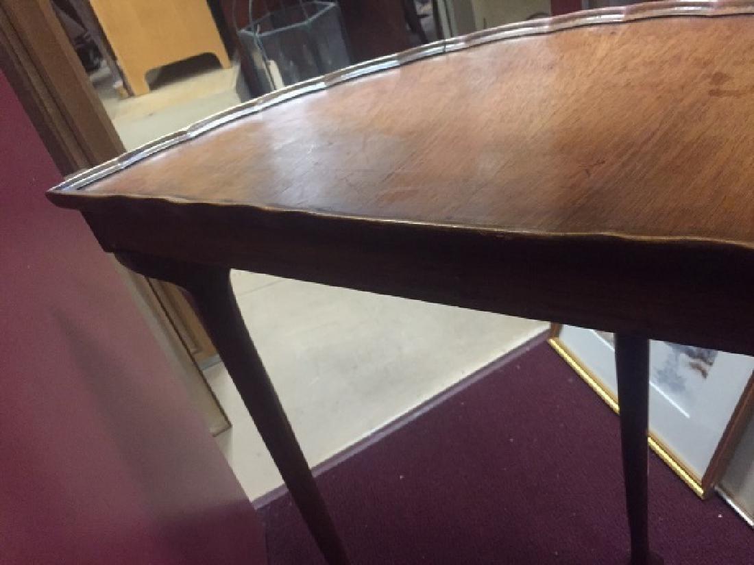 Antique Demi Lune Console Table w Pie Crust Edge - 5