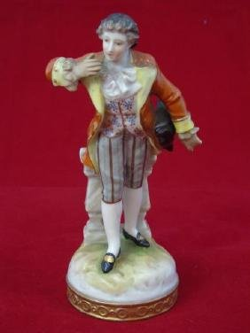 Antique Meissen Style Porcelain Figure Man Bowing