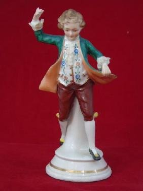 Antique Dresden Porcelain Statue Man Dancing